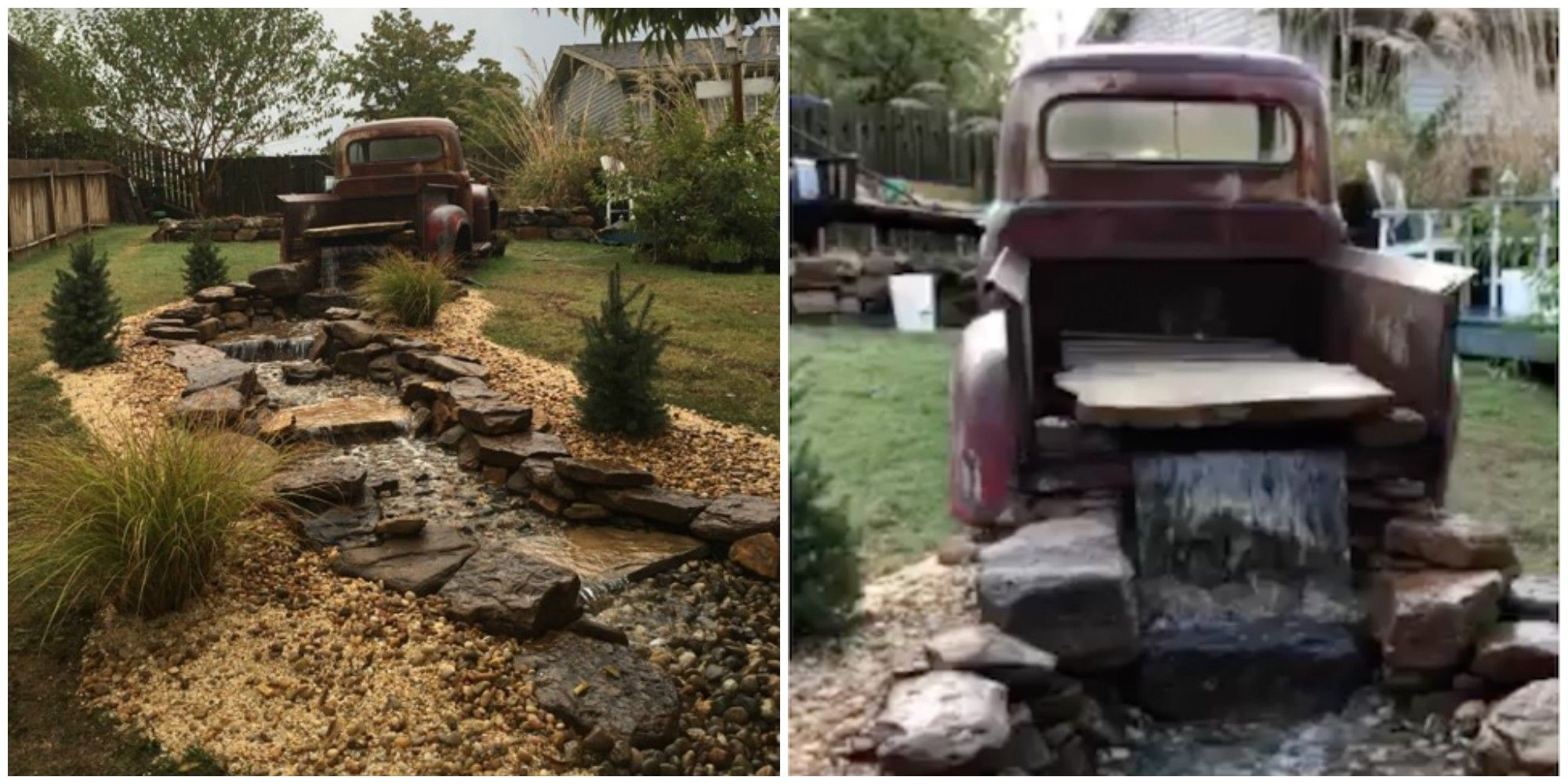 You Can Turn An Old Pickup Truck Into the Coolest Backyard Waterfall