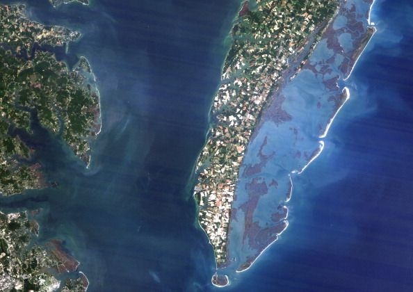 Chesapeake Bay Meteor Impact Crater, Virginia, Usa, True Colour Satellite Image