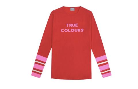 Long-sleeved t-shirt, Clothing, Sleeve, Pink, T-shirt, Red, Font, Outerwear, Sportswear, Jersey,