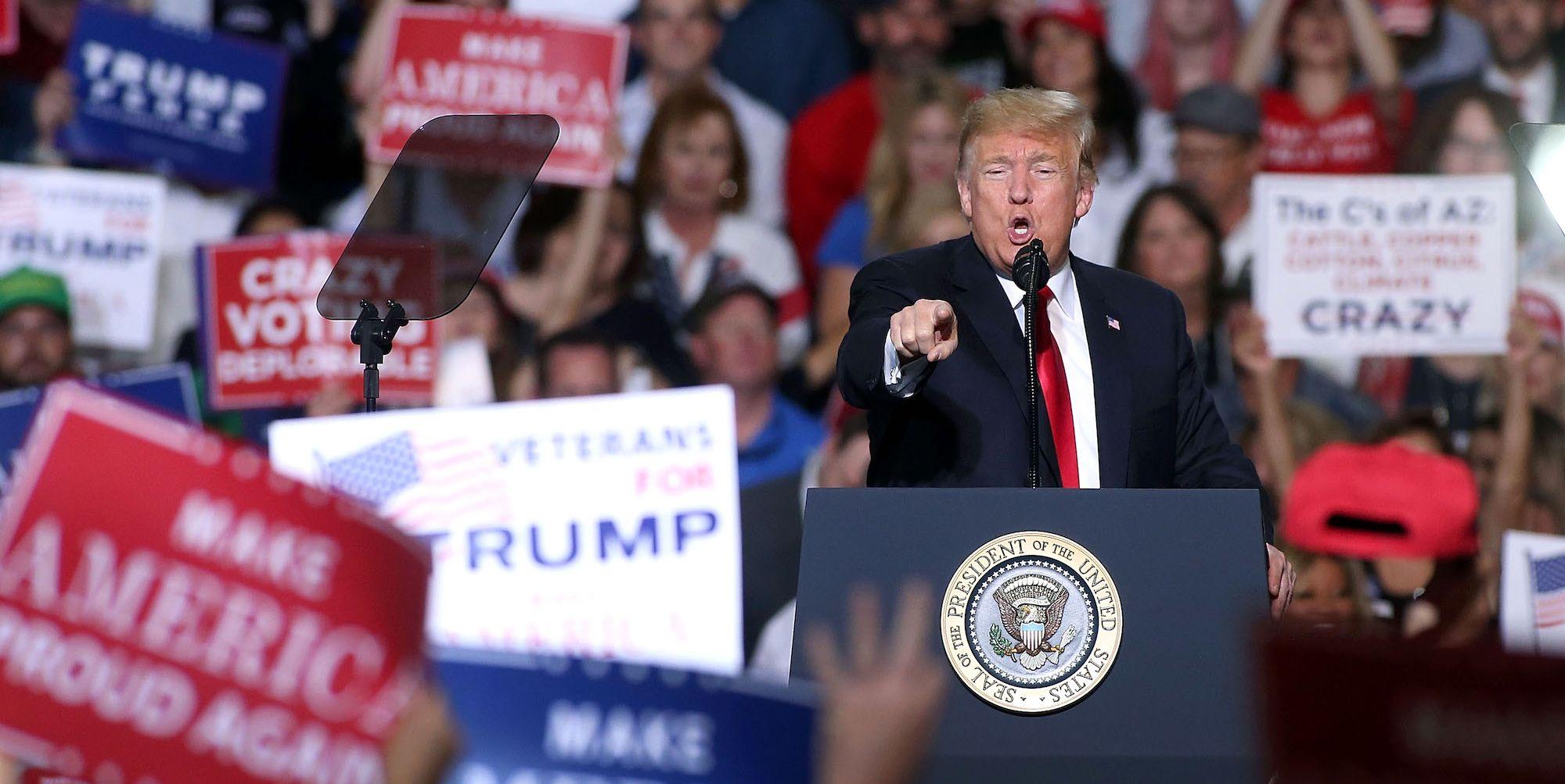 President Trump Holds Rally In Mesa, Arizona