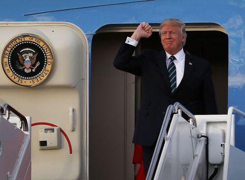 President Trump Arrives In Florida For Weekend At Mar-A-Lago Estate