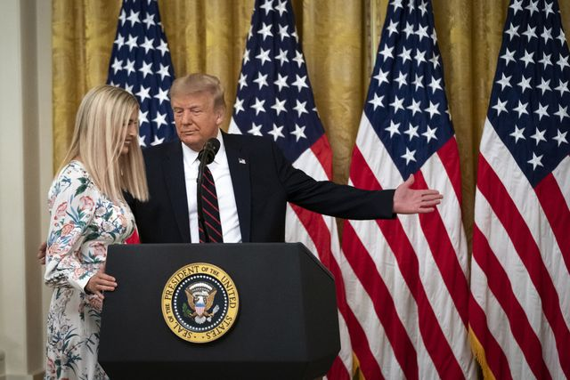 washington, dc   august 04 us president donald trump introduces daughter and advisor to the president ivanka trump during a signing ceremony for the great american outdoors act in the east room of the white house on august 4, 2020 in washington, dc the new public lands law aims to fix crumbling national park infrastructure and permanently fund the land and water conservation fund photo by drew angerergetty images