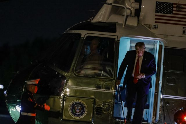 washington, dc   august 09 president donald trump arrives at the white house in marine one on august 9, 2020 in washington, dc the president spent the weekend at his property in new jersey where he attended multiple campaign and fund raising events photo by samuel corumgetty images