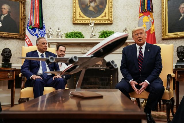 president donald trump participates in a bilateral meeting with the prime minister of the republic of iraq, mustafa al kadhimi, in the oval office of the white house in washington dc on august 20th, 2020