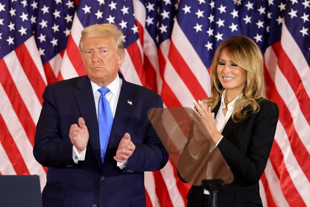 washington, dc   november 04 us president donald trump and first lady melania trump take the stage on election night in the east room of the white house in the early morning hours of november 04, 2020 in washington, dc trump spoke shortly after 2am with the presidential race against democratic presidential nominee joe biden still too close to call photo by chip somodevillagetty images