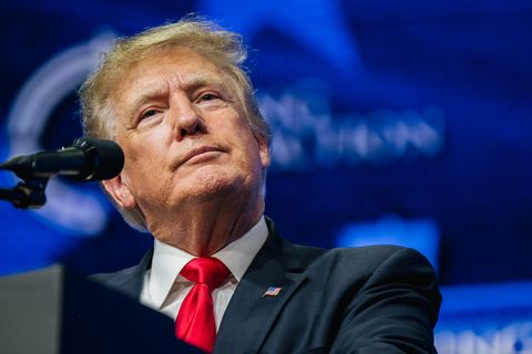 phoenix, arizona   july 24 former us president donald trump speaks during the rally to protect our elections conference on july 24, 2021 in phoenix, arizona the phoenix based political organization turning point action hosted former president donald trump alongside gop arizona candidates who have begun candidacy for government elected roles photo by brandon bellgetty images