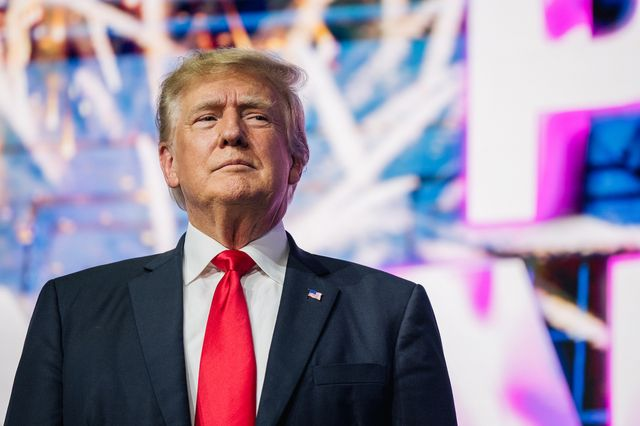 phoenix, arizona   july 24 former us president donald trump  makes an entrance at the rally to protect our elections conference on july 24, 2021 in phoenix, arizona the phoenix based political organization turning point action hosted former president donald trump alongside gop arizona candidates who have begun candidacy for government elected roles photo by brandon bellgetty images