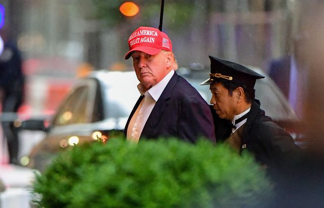 new york, new york   august 22 exclusive coverage former us president donald trump arrives at trump tower in manhattan on august 22, 2021 in new york city photo by james devaneygc images