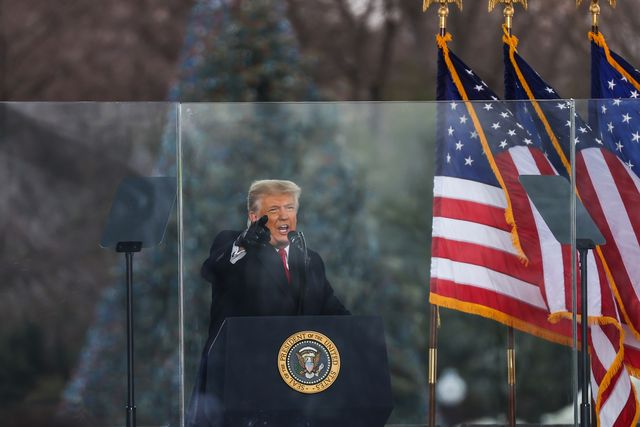 """washington dc, usa   january 6 us president donald trump speaks at """"save america march"""" rally in washington dc, united states on january 06, 2021 photo by tayfun coskunanadolu agency via getty images"""