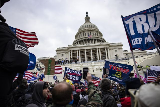 washington, dc   january 06 pro trump supporters storm the us capitol following a rally with president donald trump on january 6, 2021 in washington, dc trump supporters gathered in the nation's capital today to protest the ratification of president elect joe biden's electoral college victory over president trump in the 2020 election photo by samuel corumgetty images