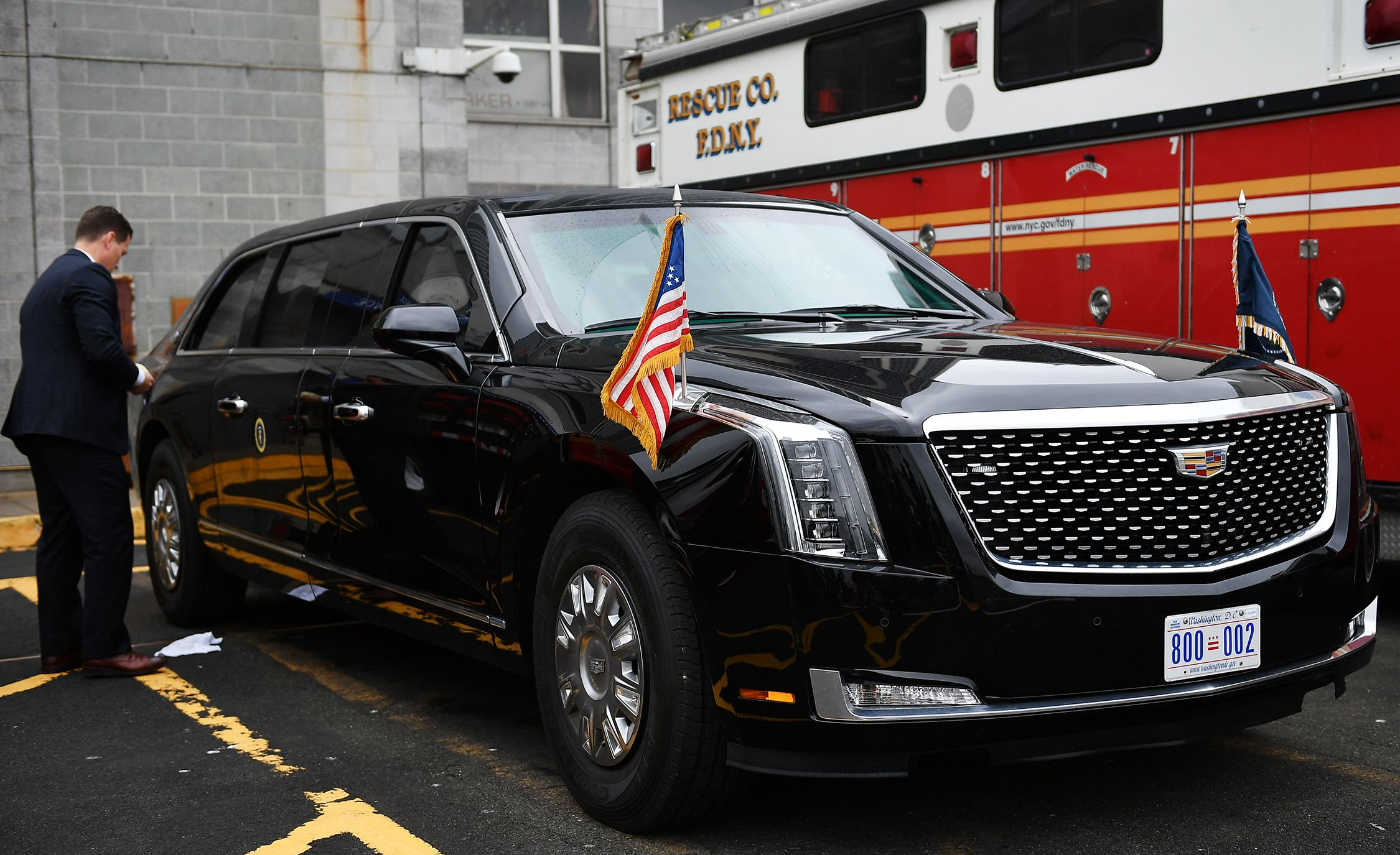 "president donald trump's new cadillac ""beast"" limo revealed"