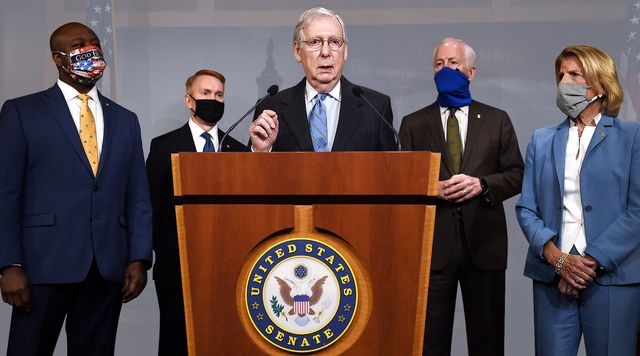 senate majority leader mitch mcconnell flanked by l to r sen tim scott, r sc,  sen james lankford, r ok, sen john cornyn, r tx, and sen shelley moore capito, r wv, speaks at a news conference to announce a republican police reform bill  a news conference to announce that the senate will consider police reform legislation, at the us capitol on june 17, 2020 in washington, dc photo by olivier douliery  afp photo by olivier doulieryafp via getty images