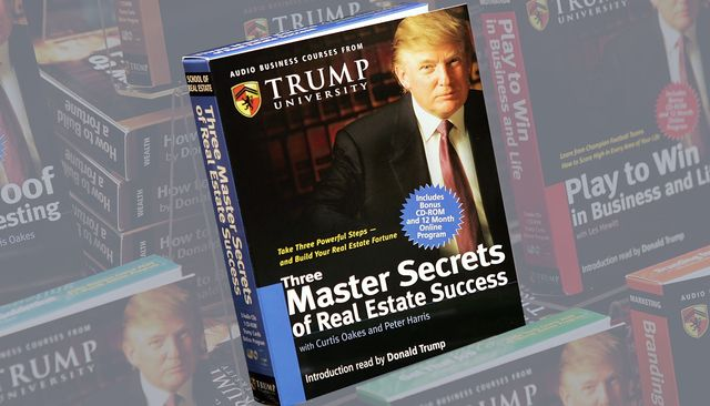 """new york   january 10  copies of """"how to build wealth,"""" which is a series of nine audio business courses created by trump university, lie on display at a barnes  noble store january 10, 2005 in new york city  photo by scott gries getty images"""