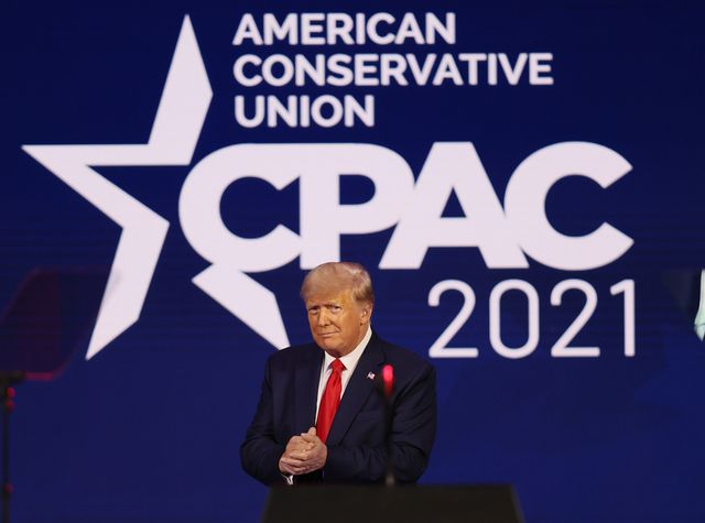 orlando, florida   february 28  former president donald trump addresses the conservative political action conference held in the hyatt regency on february 28, 2021 in orlando, florida begun in 1974, cpac brings together conservative organizations, activists, and world leaders to discuss issues important to them photo by joe raedlegetty images
