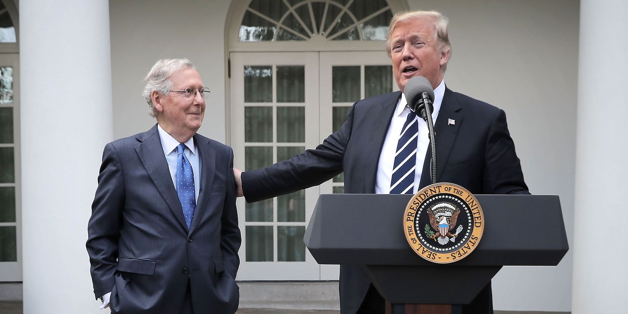 President Trump And Sen. Mitch McConnell Address Media After Working Lunch