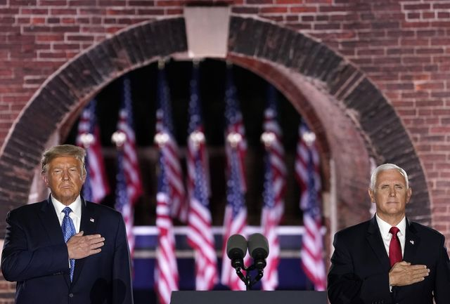 baltimore, maryland   august 26  president donald trump attends mike pence's acceptance speech for the vice presidential nomination during the republican national convention at fort mchenry national monument on august 26, 2020 in baltimore, maryland the convention is being held virtually due to the coronavirus pandemic but includes speeches from various locations including charlotte, north carolina, washington, dc, and baltimore, maryland  photo by drew angerergetty images