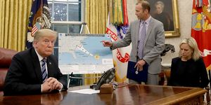 President Trump Meets With Homeland Security Secretary Nielsen And FEMA Administrator Long In The Oval Office