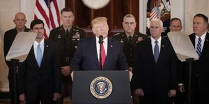 President Trump Addresses The Nation After Iranian Attacks In Iraq Target Bases Where U.S. Troops Stationed