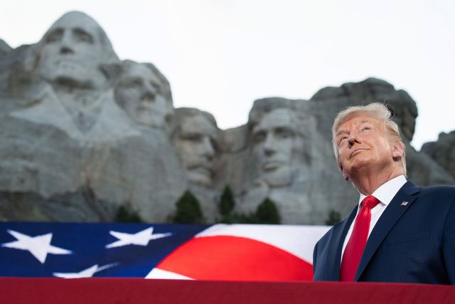 topshot   us president donald trump arrives for the independence day events at mount rushmore national memorial in keystone, south dakota, july 3, 2020 photo by saul loeb  afp photo by saul loebafp via getty images