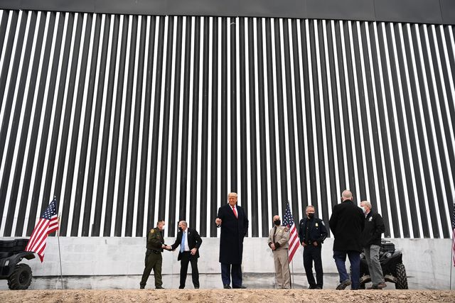 topshot   us president donald trump tours a section of the border wall in alamo, texas, on january 12, 2021 photo by mandel ngan  afp photo by mandel nganafp via getty images