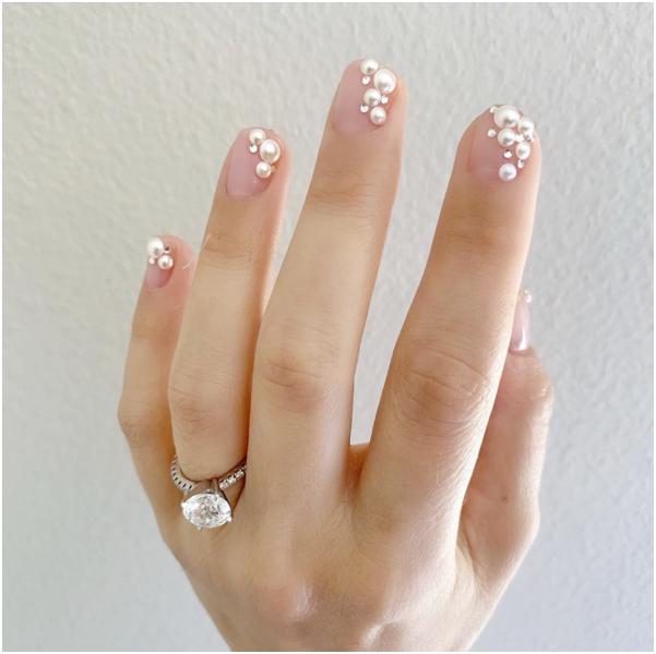 美甲,珍珠,光療,指甲,示範,款式,春天,新娘,