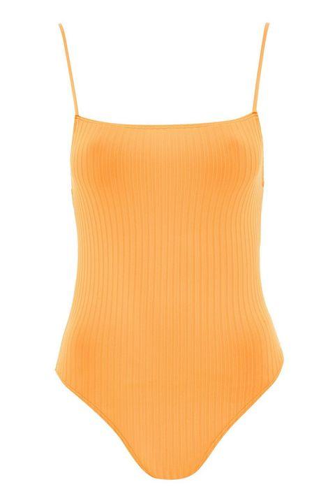 Clothing, Orange, Swimwear, Yellow, Leotard, Undergarment, One-piece swimsuit, Neck, Lingerie, Bikini,