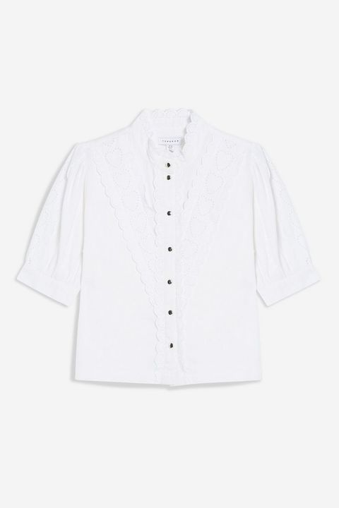 topshop Ivory Broderie Shirt £29