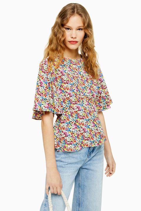 Topshop floral austin blouse top
