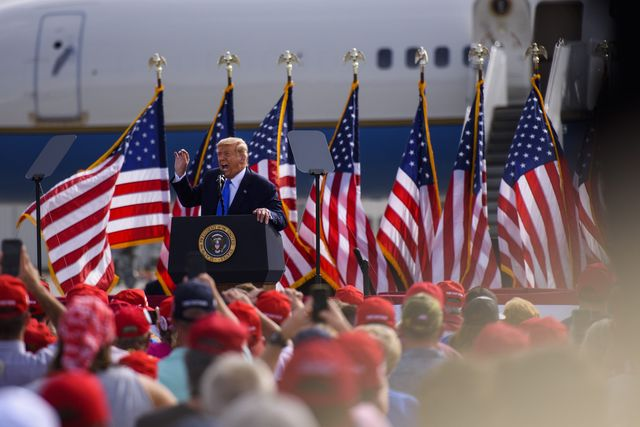 greenville, nc   october 15 president donald trump makes remarks during a make america great again rally at the pitt greenville airport on october 15, 2020 in greenville, north carolina thousands of people joined to listen to the president 19 days before the 2020 presidential election photo by melissa sue gerritsgetty images