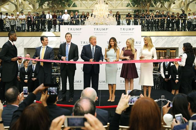 republican presidential nominee donald trump delivers remarks before a ribbon cutting ceremony at the new trump international hotel october 26, 2016 in washington, dc the hotel, built inside the historic old post office, has 263 luxry rooms, including the 6,300 square foot 'trump townhouse' at 100,000 a night, with a five night minimum the trump organization was granted a 60 year lease to the historic building by the federal government before the billionaire new york real estate mogul announced his intent to run for president