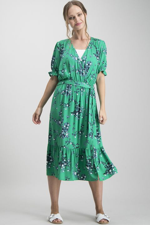 Green Blossom Floral Midi Dress
