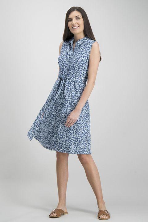 Blue Ditsy Print Chambray Shirt Dress £20