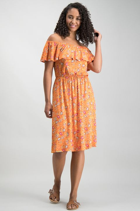 Orange Paisley Print Bardot Dress
