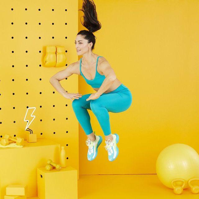 Yellow, Physical fitness, Balance, Arm, Shoulder, Joint, Leg, Swiss ball, Aerobics, Thigh,