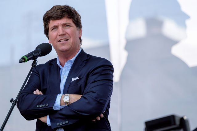 """esztergom, hungary   august 07 tucker carlson speaks during the mathias corvinus collegium mcc feszt on august 7, 2021 in esztergom, hungary the multiday political event was organized by the mathias corvinus collegium mcc, a privately managed foundation that recently received more than $17 billion in government money and assets the leader of its main board, balazs orban, who is also a state secretary in the prime minister's office, said mcc's priority is promoting """"patriotism"""" among the next generation of hungary's leaders photo by janos kummergetty images"""