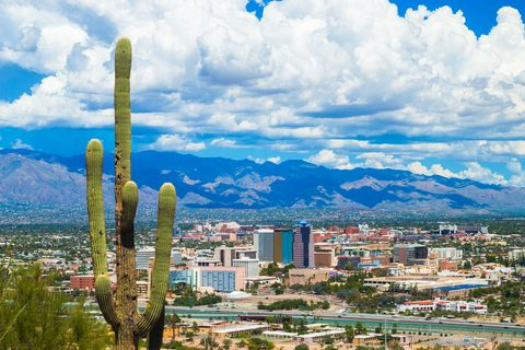 tucson aerial skyline view with dramatic clouds and a cactus