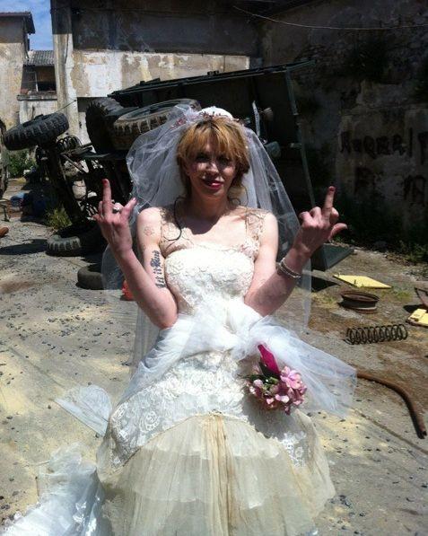 Bride, Dress, Wedding dress, Clothing, Gown, Bridal clothing, Bridal party dress, Bridal accessory, Child, Plant,