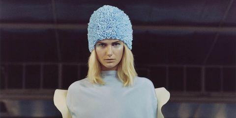 Fashion accessory, Fashion, Thigh, Beanie, Street fashion, Knit cap, Electric blue, Waist, Bonnet, Long hair,