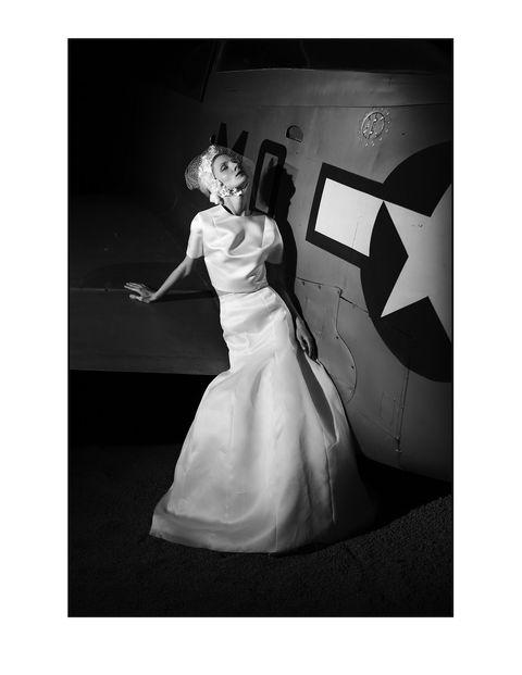 Dress, Photograph, Formal wear, Style, Bridal clothing, Gown, Wedding dress, Monochrome photography, Waist, Monochrome,