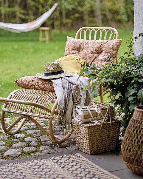 terrazas y jardines tumbona de caña de bloomingville