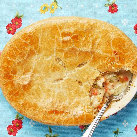 classic pot pie on blue background