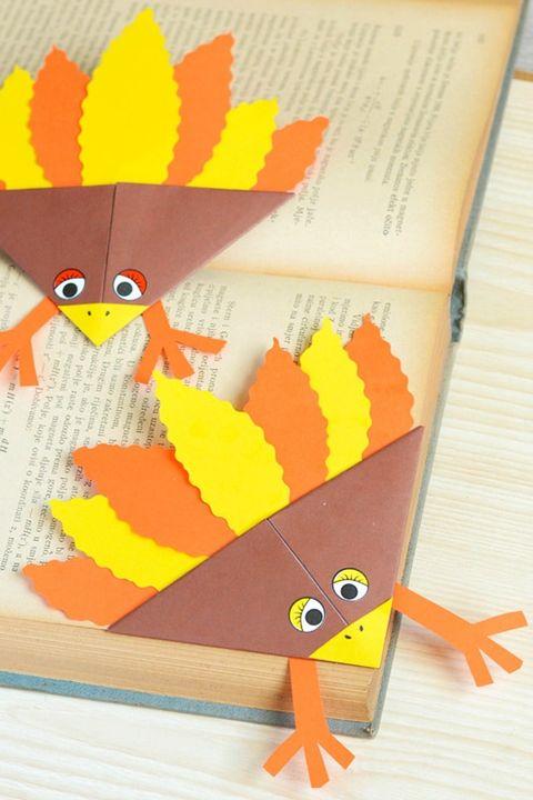 Thanksgiving Crafts Turkey Corner Bookmarks