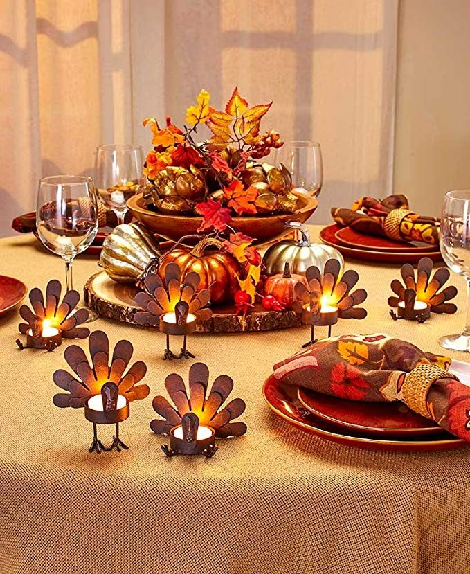 Thanksgiving Decorations Turkey Tealight Candleholders