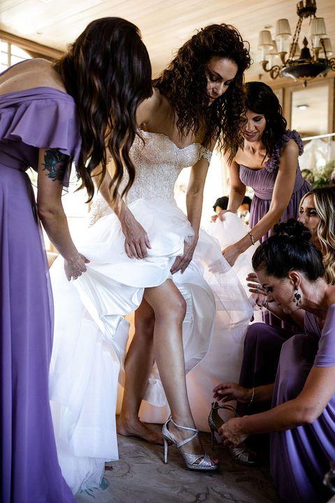 Photograph, Dress, Fashion, Purple, Event, Ceremony, Bridal clothing, Wedding dress, Gown, Bride,