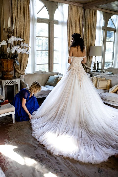 Gown, Dress, Clothing, Wedding dress, Photograph, Bridal clothing, Bridal party dress, Shoulder, Bride, Haute couture,