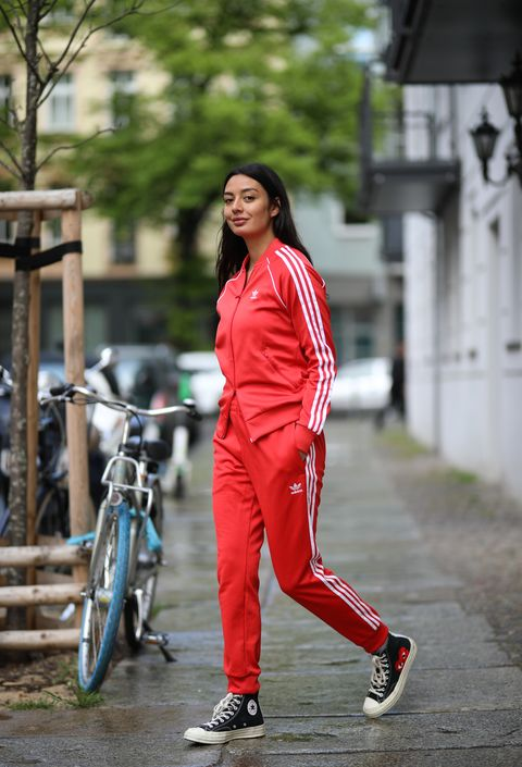 berlin, germany   may 05 alyssa cordes wearing adidas tracksuits and converse sneaker on may 05, 2020 in berlin, germany photo by jeremy moellergetty images
