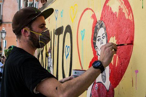 Street art, Wall, Art, Artist, Graffiti, Mural, Visual arts, Illustration, Surfboard, Recreation,