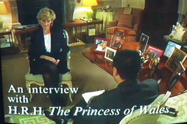 tv pictures of lady diana being interviewed by the bbc