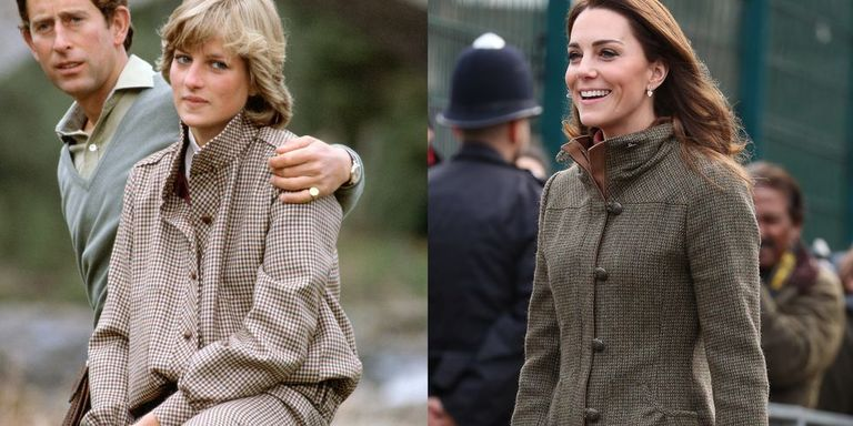 Diana wearing a tweed topper and matching skirt while on her honeymoon in Scotland in August 1981; Kate in a Dubarry Bracken tweed jacket for an appearance at King Henry's Walk Garden on Tuesday, January 15, 2019.