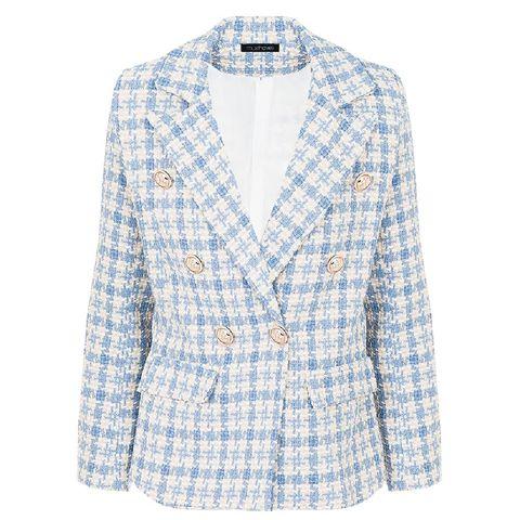 tweed button blazer jeansblauw